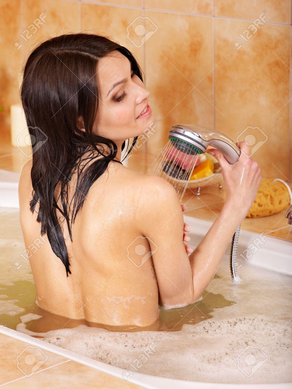 Young woman take bubble  bath. Stock Photo - 9620326