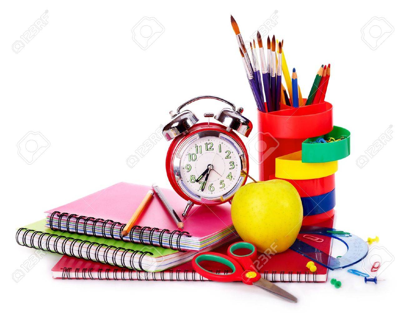 Back to school supplies. Isolated. Stock Photo - 9781115