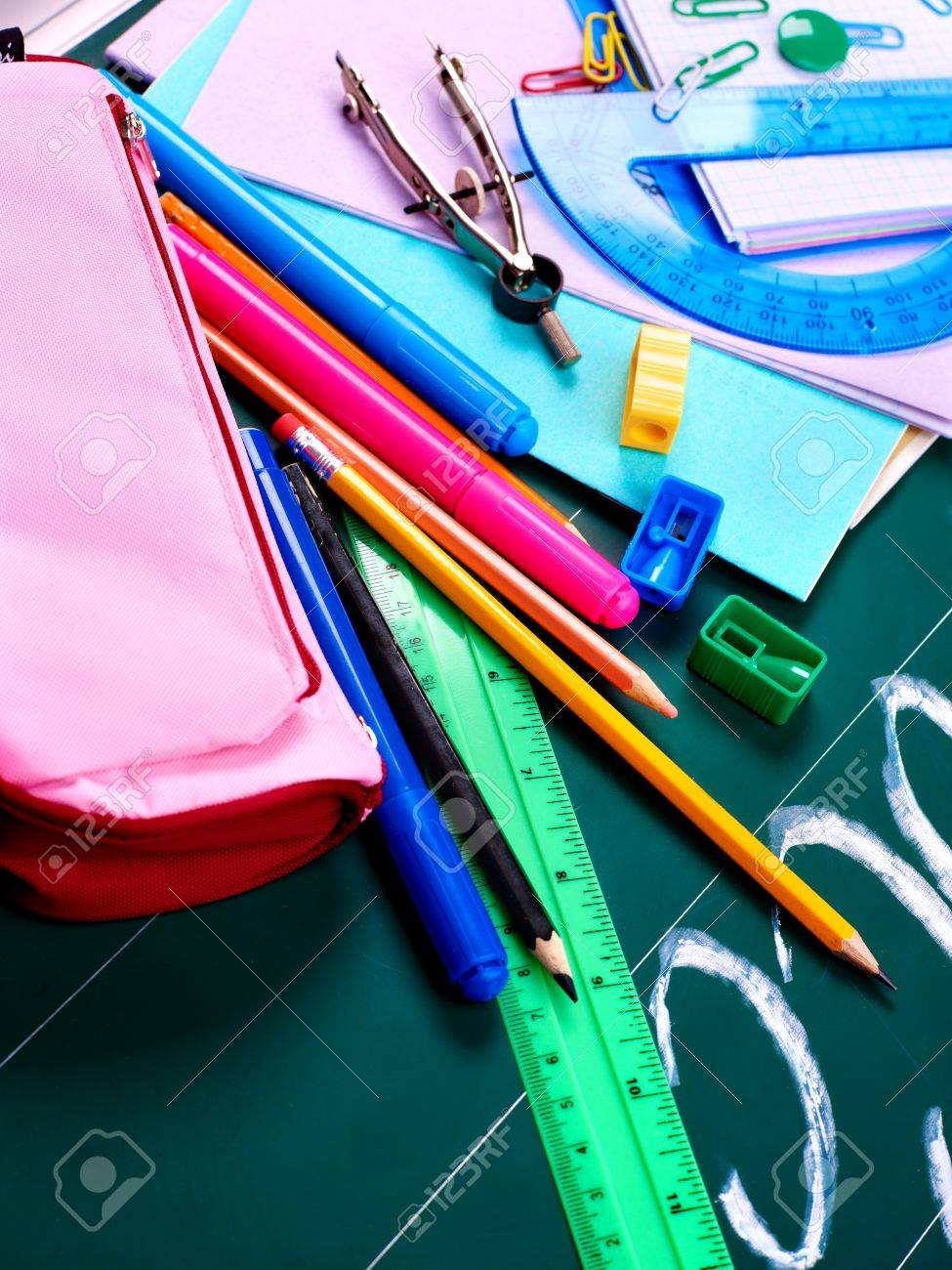 Back to school supplies. Isolated. Stock Photo - 9781720