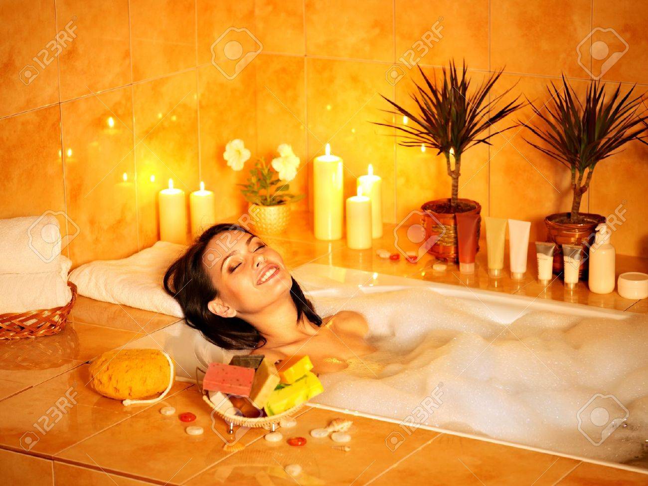 Young Woman Take Bubble Bath. Stock Photo, Picture And Royalty Free ...