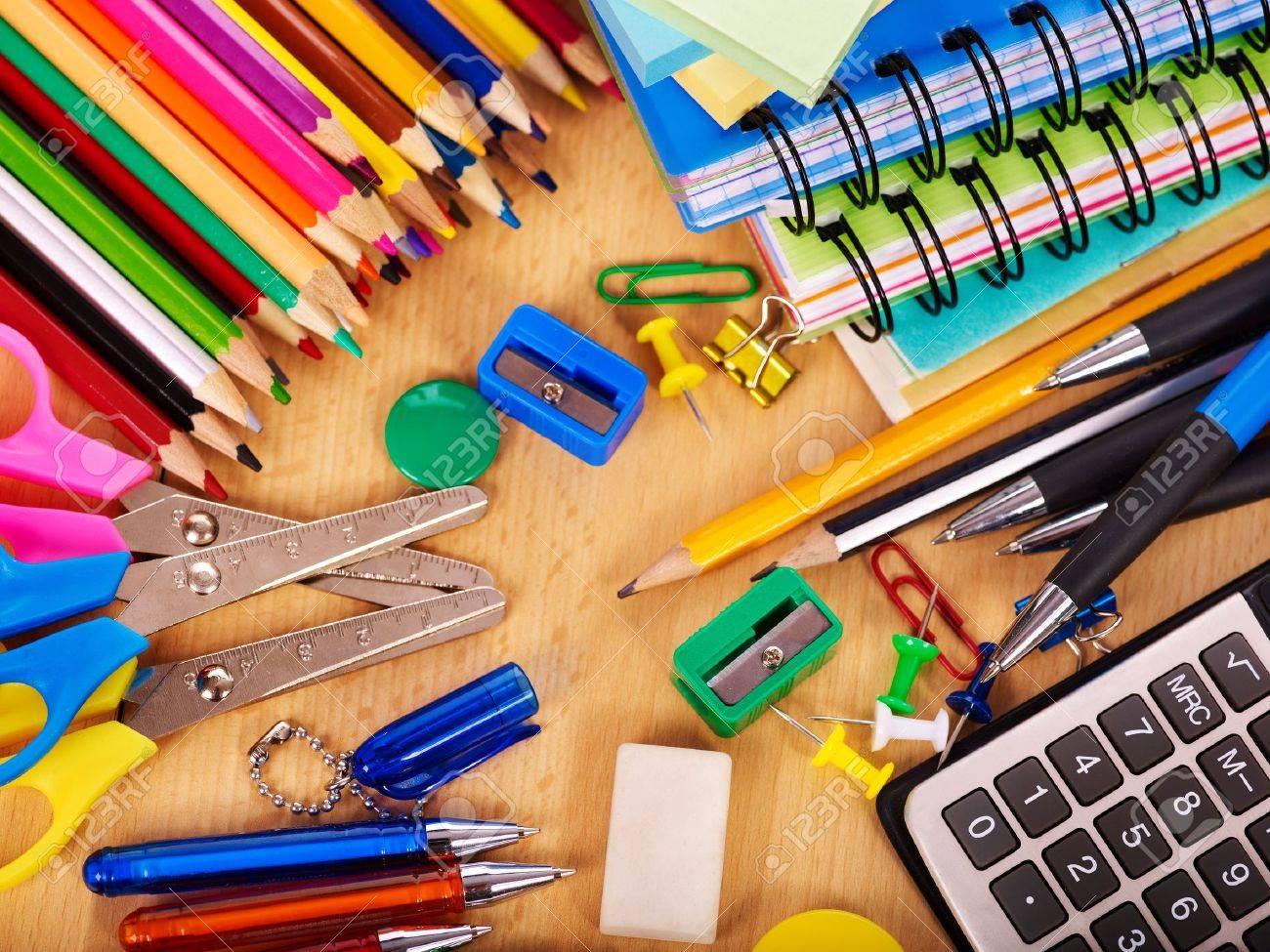 School  office supplies on board. Stock Photo - 9831472