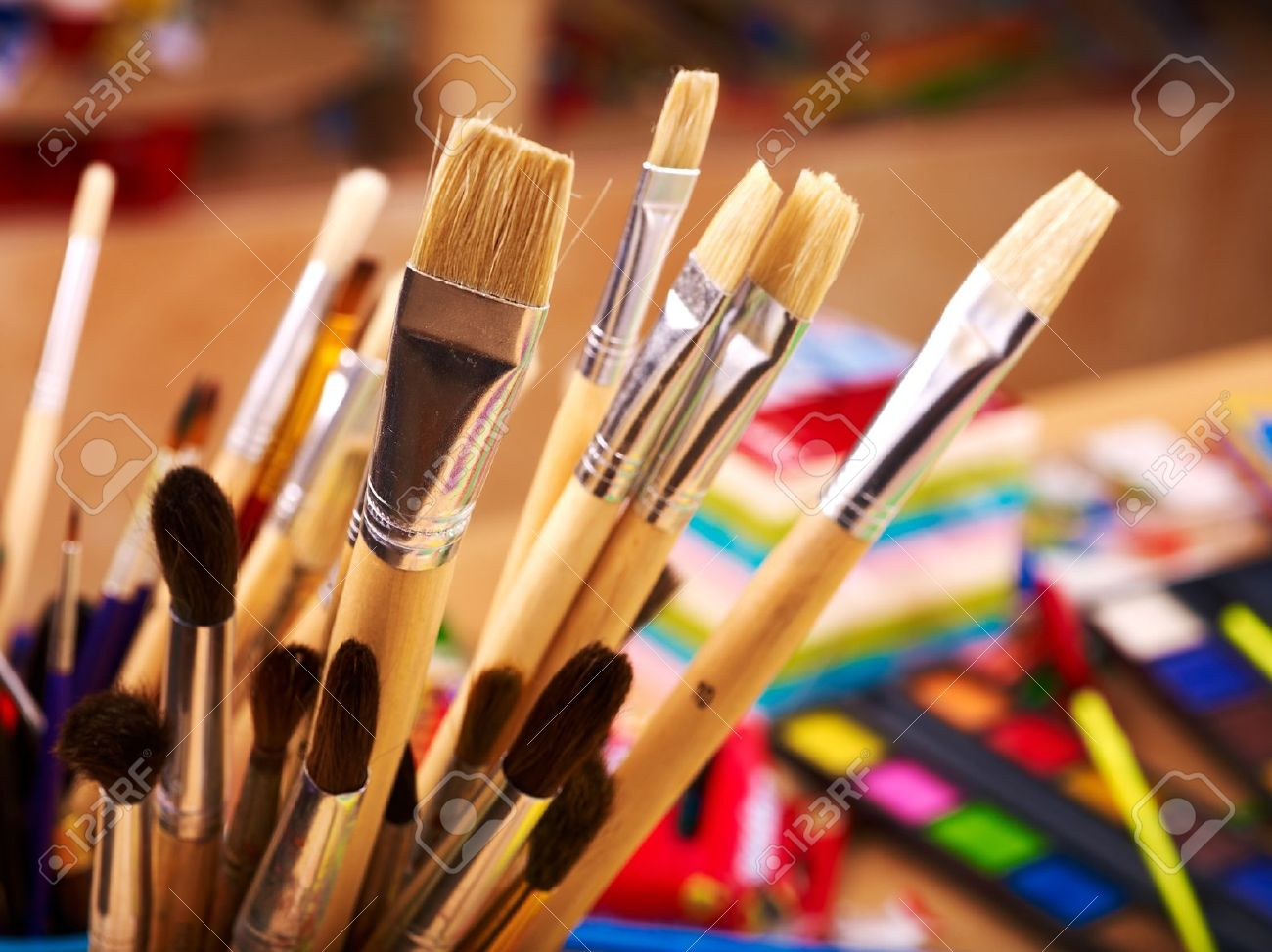 Close Up Of Group Art Supplies Stock Photo