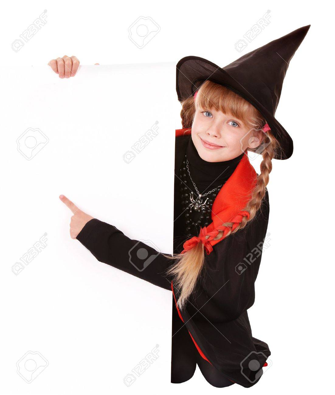 Child Witch Holding Banner Pointing. Isolated. Stock Photo ...