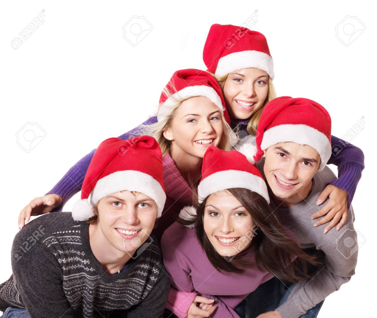 Group young people in santa hat. Isolated. Stock Photo - 11174857