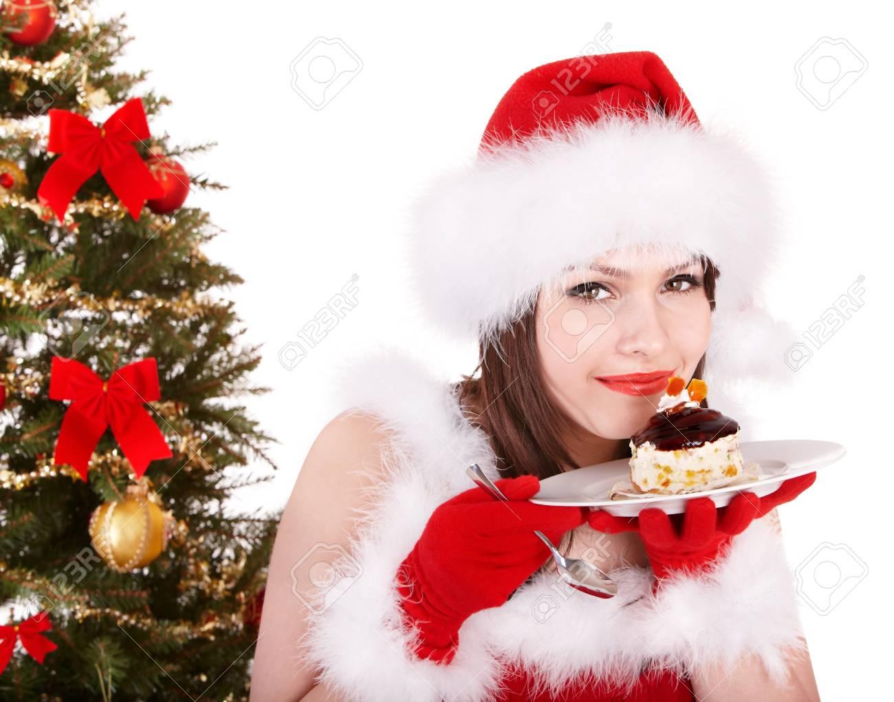 Weihnachten Mädchen Im Roten Sankt-Hut Und Kuchen Auf Dem Teller ...
