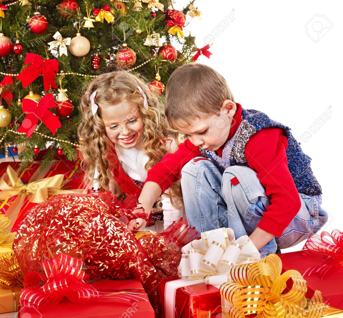 Children With Gift Box Near Christmas Tree. Isolated. Stock Photo ...