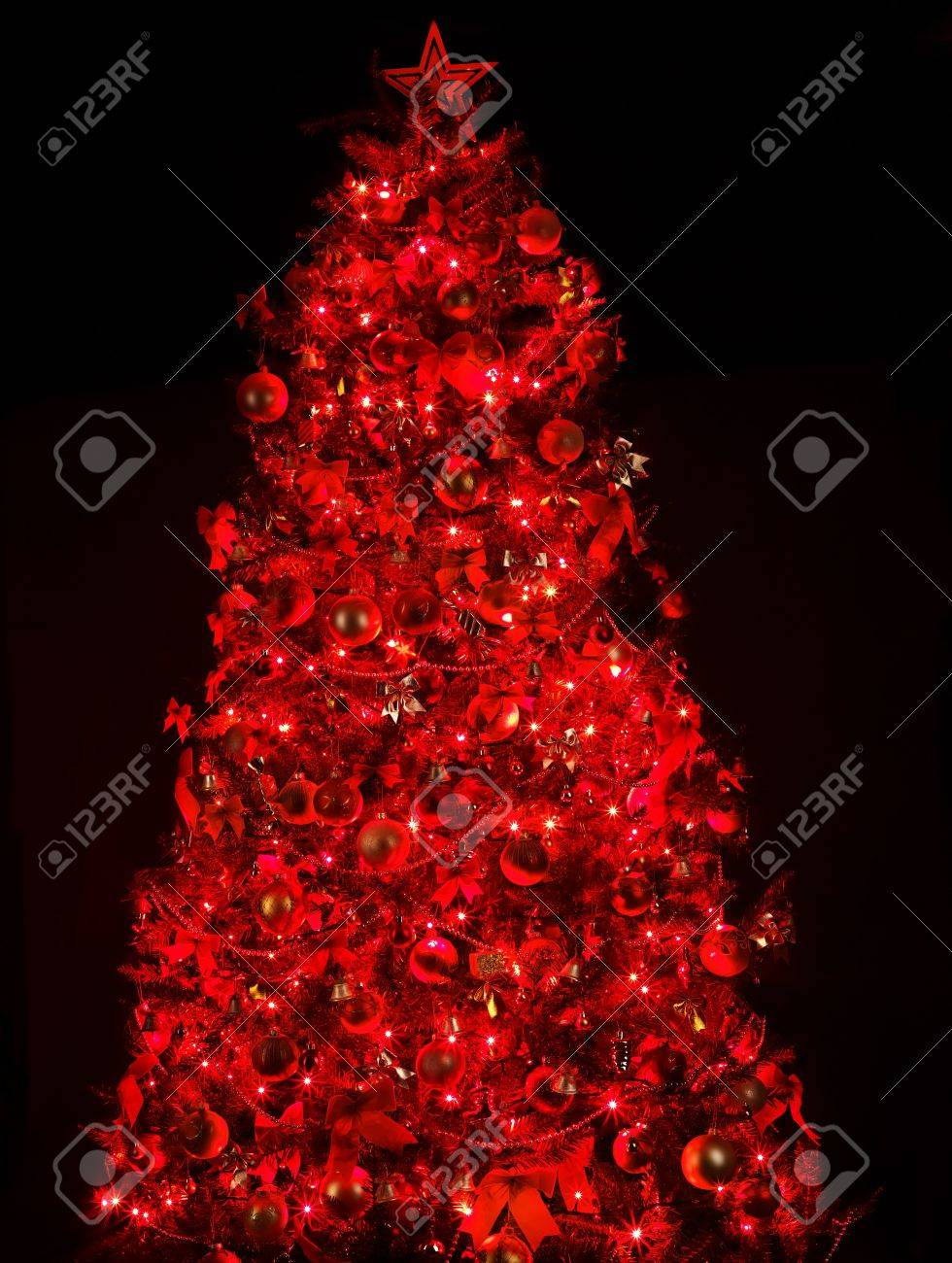 Christmas Tree With Light And Red Ball Black Background Stock Photo Picture And Royalty Free Image Image 11439425