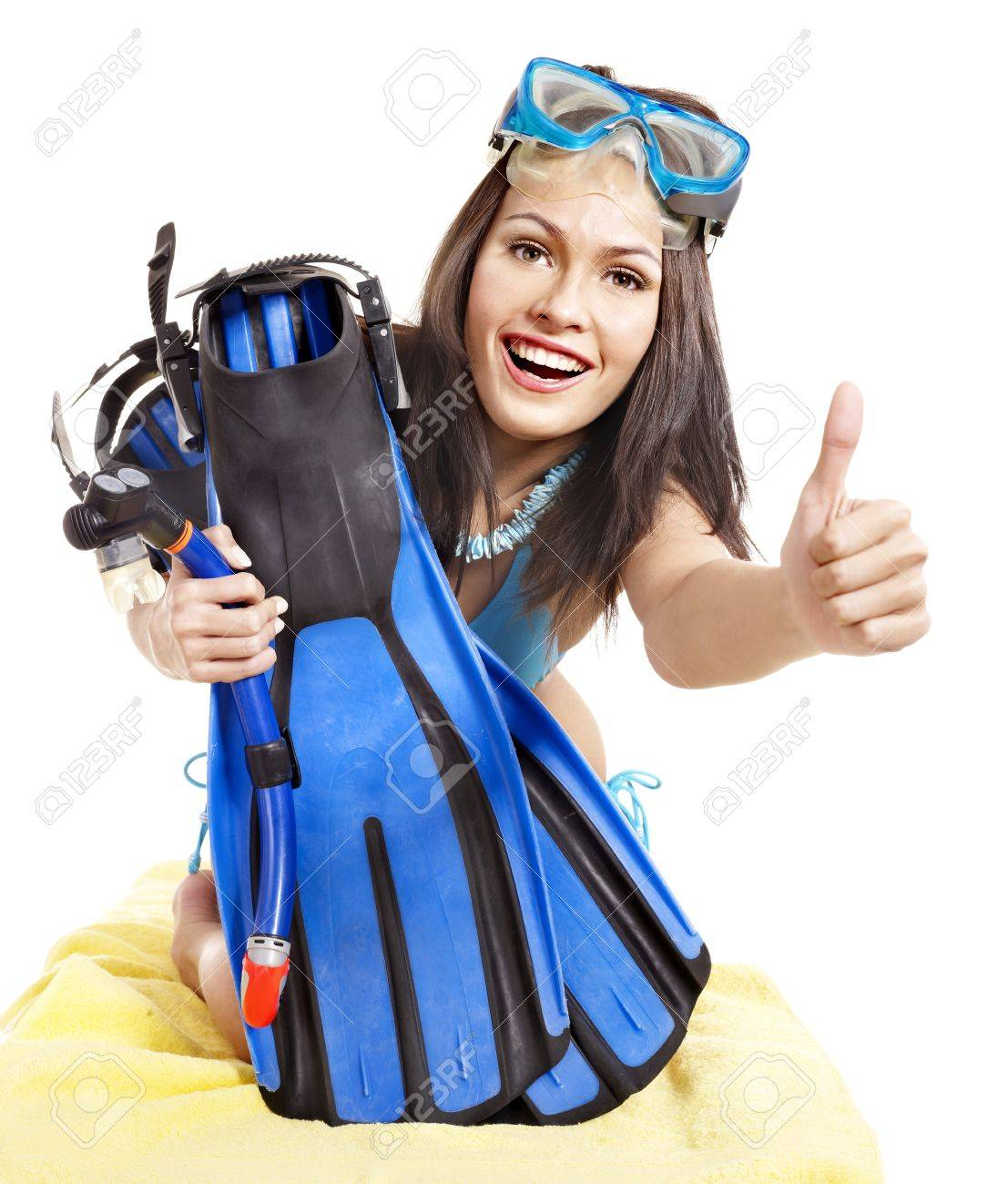 Girl wearing diving gear.  Isolated. Stock Photo - 11978477