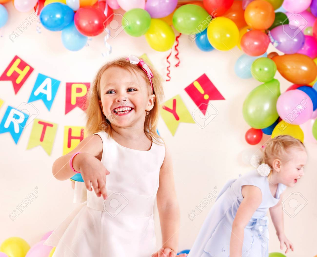 Child birthday party with happy girl. Stock Photo - 13258947