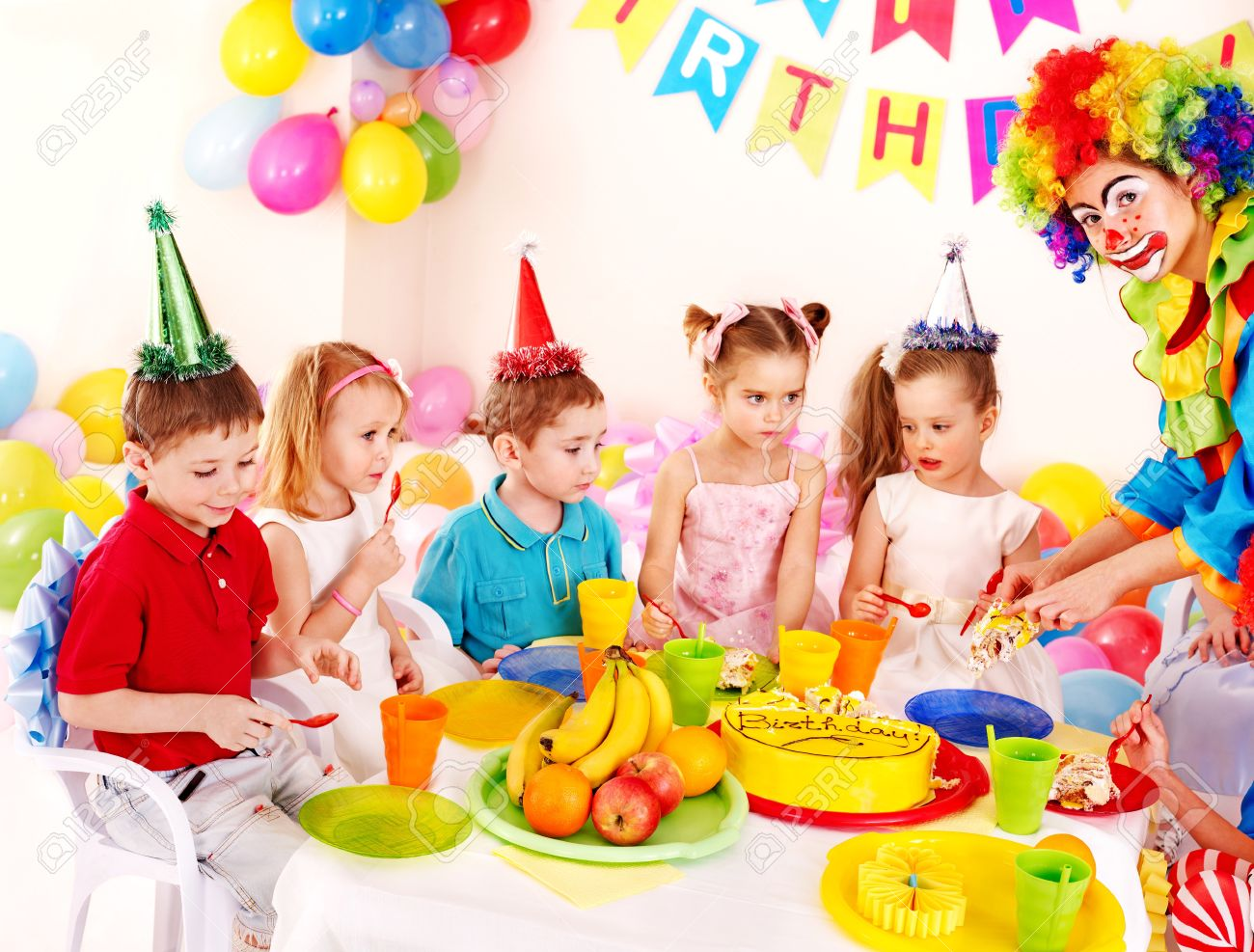 Group Of Child Happy Birthday Party Stock Photo