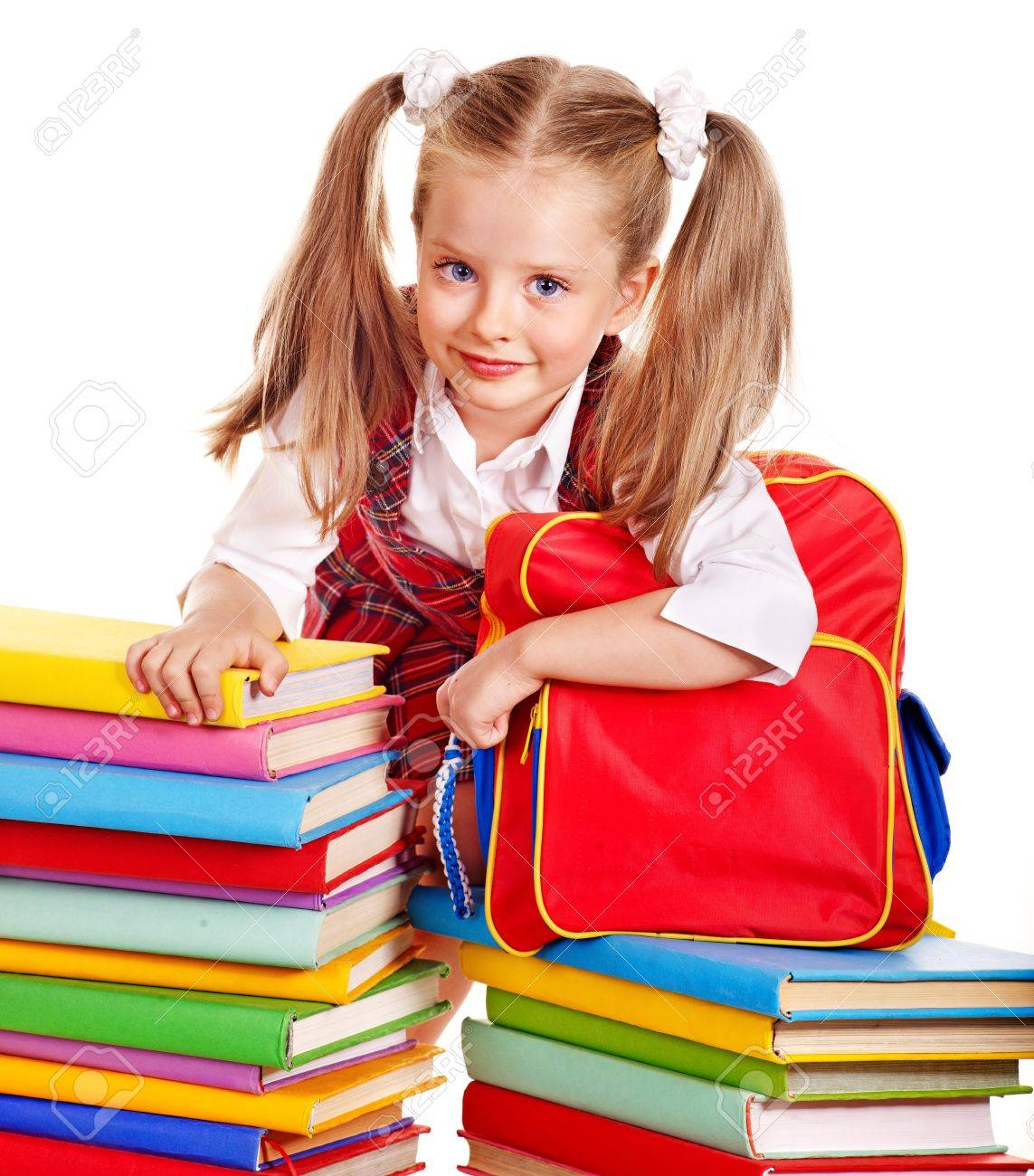 Happy child with backpack holding book. Isolated. Stock Photo - 14743217 a2d10402f9126