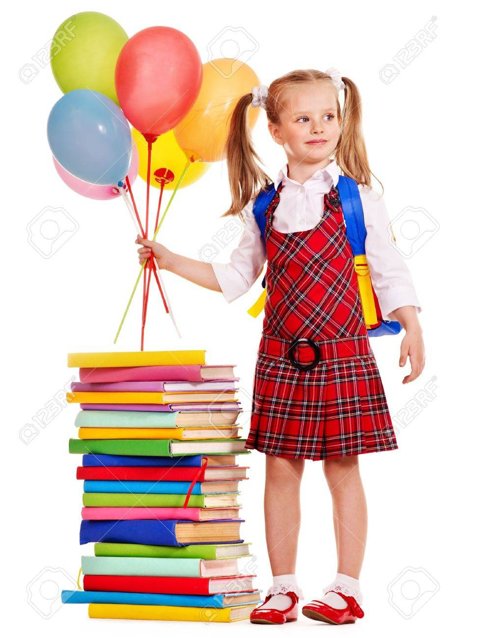 Child with book holding balloon. Isolated. Stock Photo - 14741208 8254baab52b53