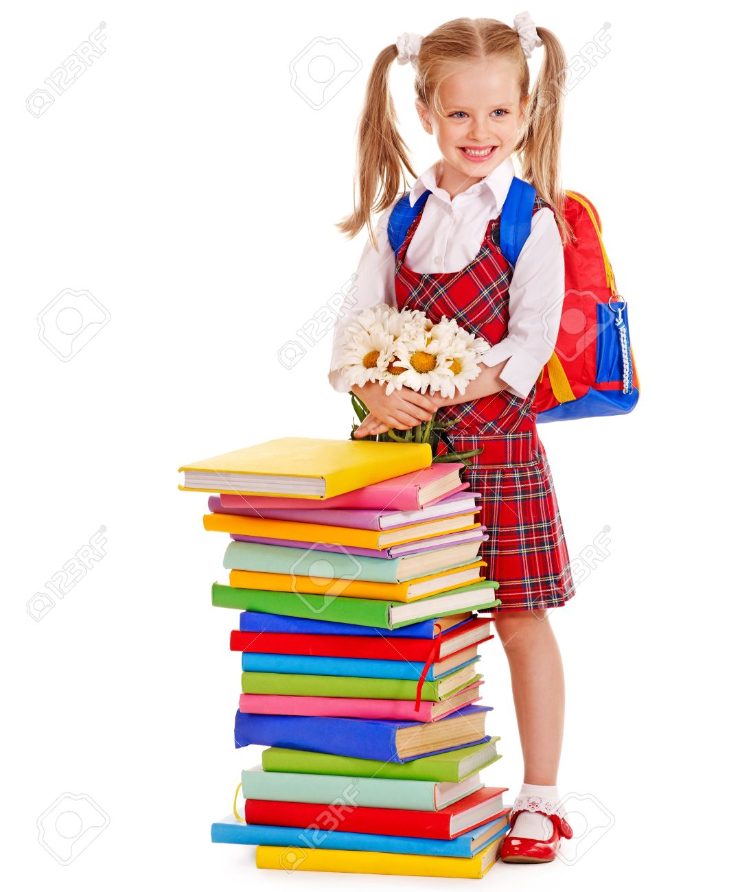 Happy child with backpack holding book. Isolated. Stock Photo - 14741539 e1a1dedfd2779