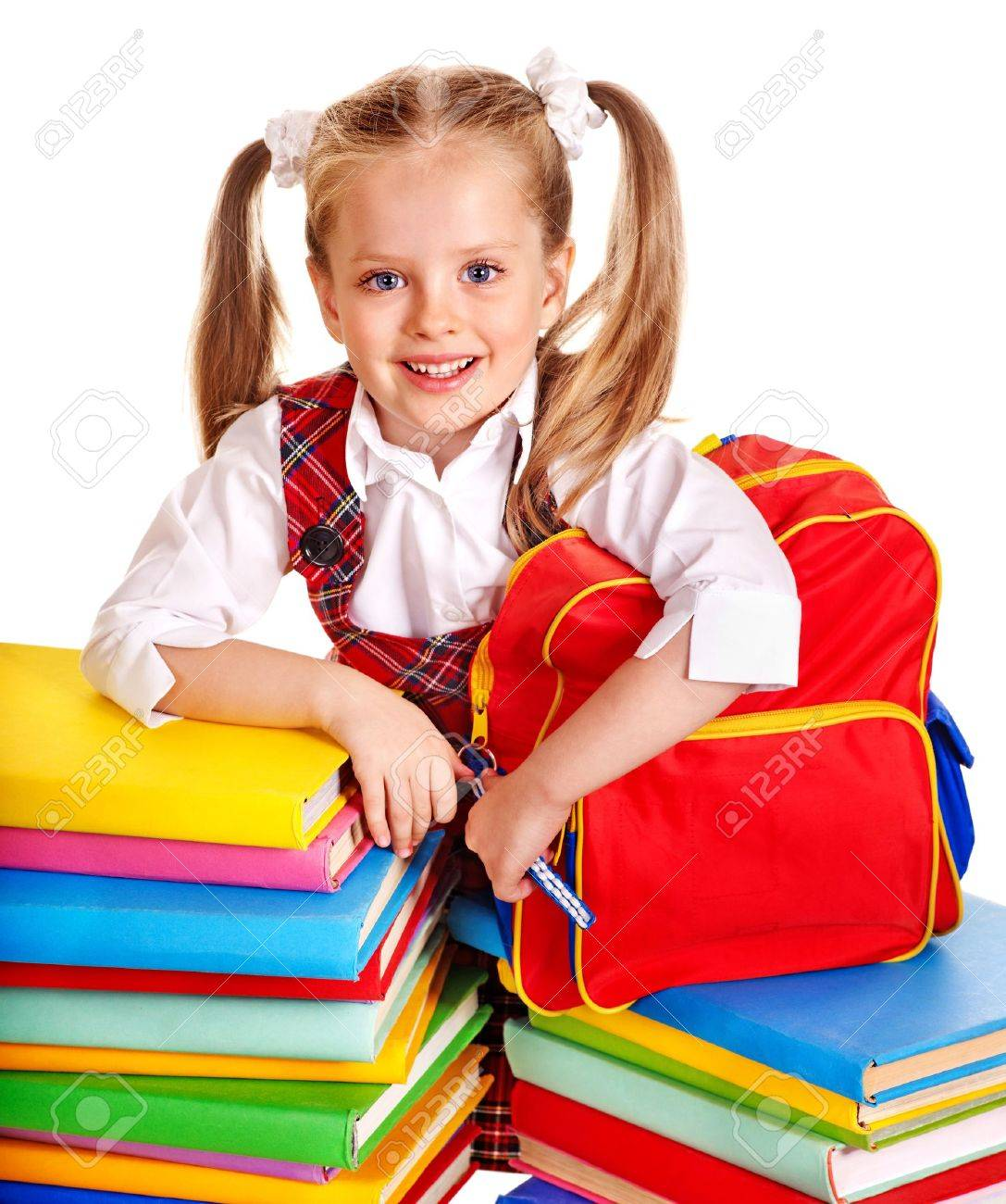 Cute child with backpack holding book. Isolated. Stock Photo - 15290424 6323d6b4902c2