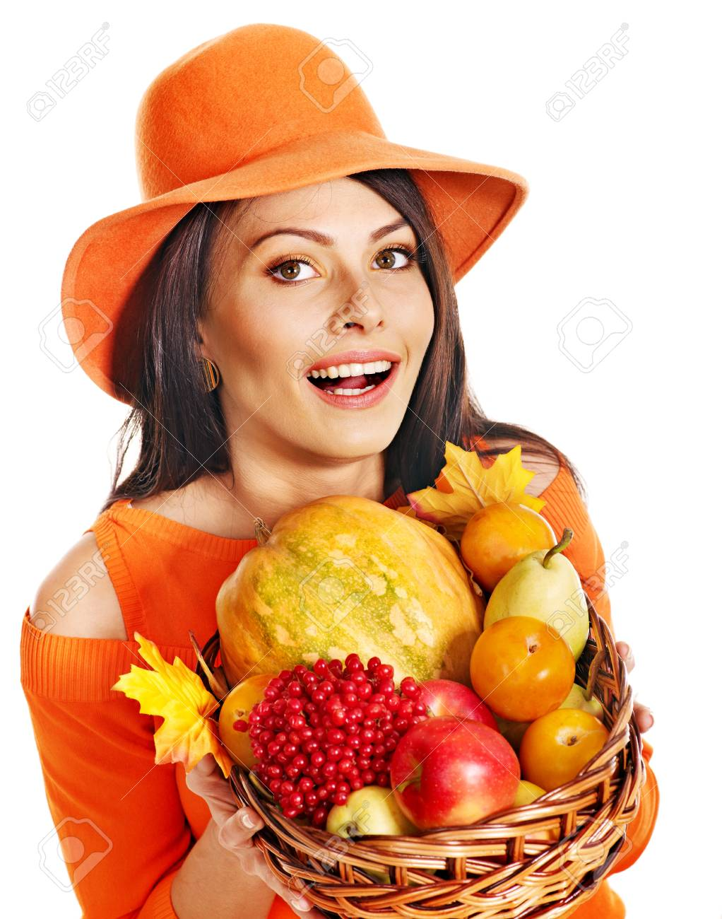 Woman holding autumn basket with fruit and vegetable. Stock Photo - 15290455