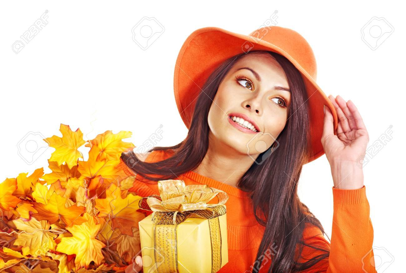 Woman holding gift box . Autumn season. Stock Photo - 15634991