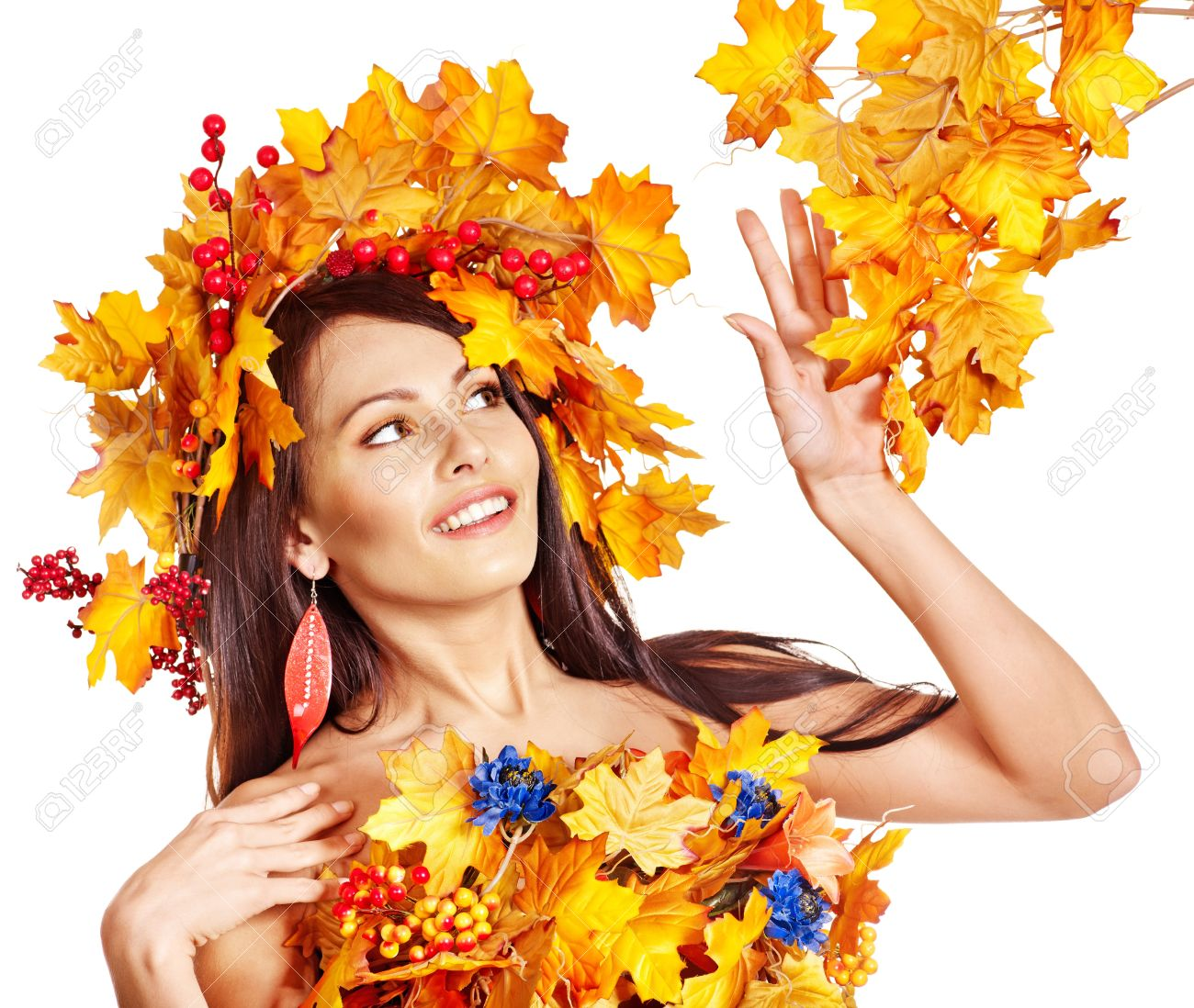 Girl with wreath of autumn leaves on the head. Art photo. Stock Photo - 15635230