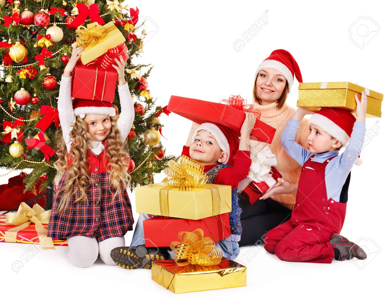 Happy Family With Children Open Gift Box Near Christmas Tree ...