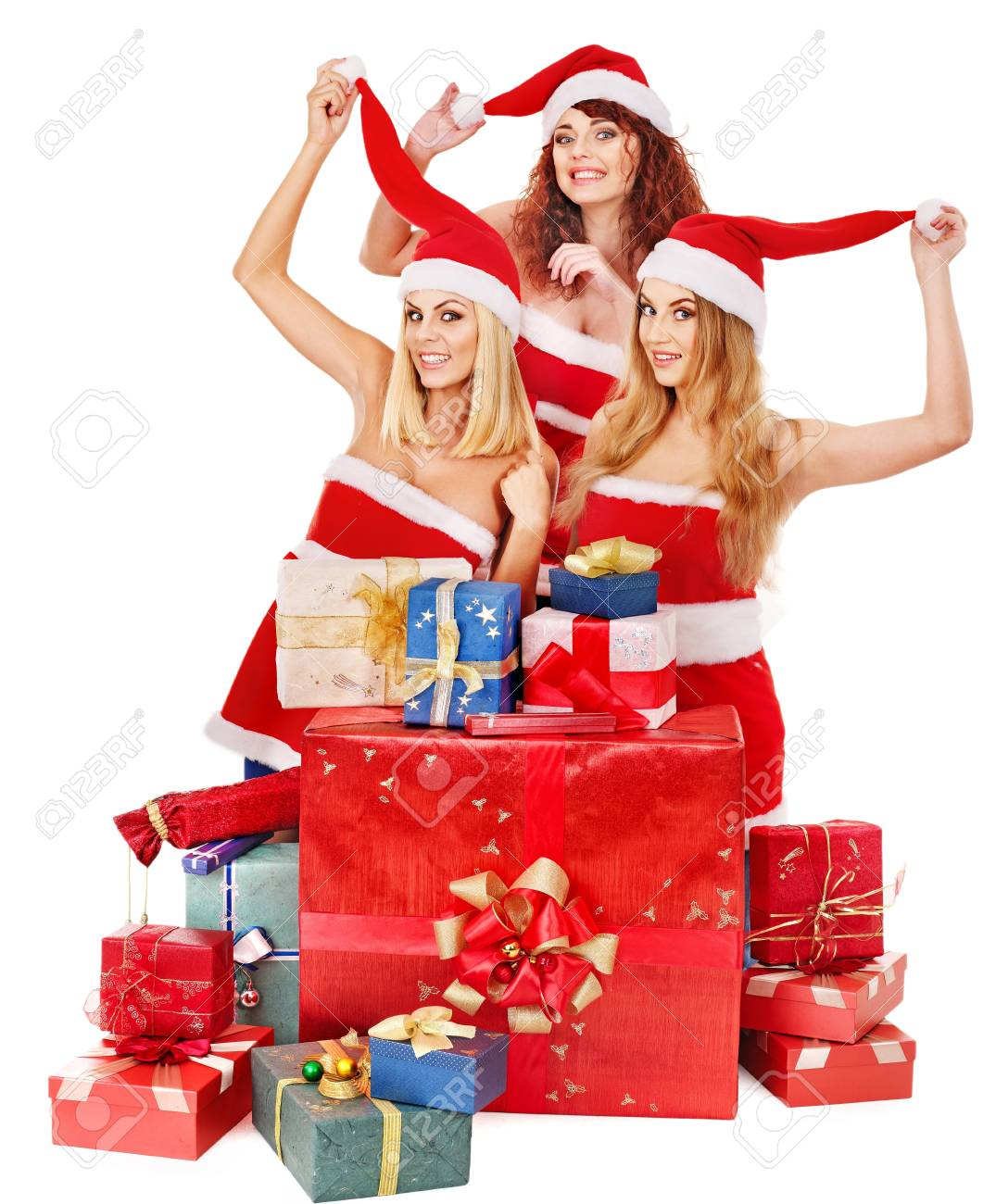 Women In Santa Hat Holding Stack Christmas Gift Box. Stock Photo ...