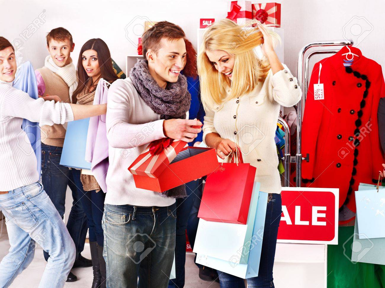 6198276656 Shopping group people at sales in clothing store. Stock Photo - 16354631