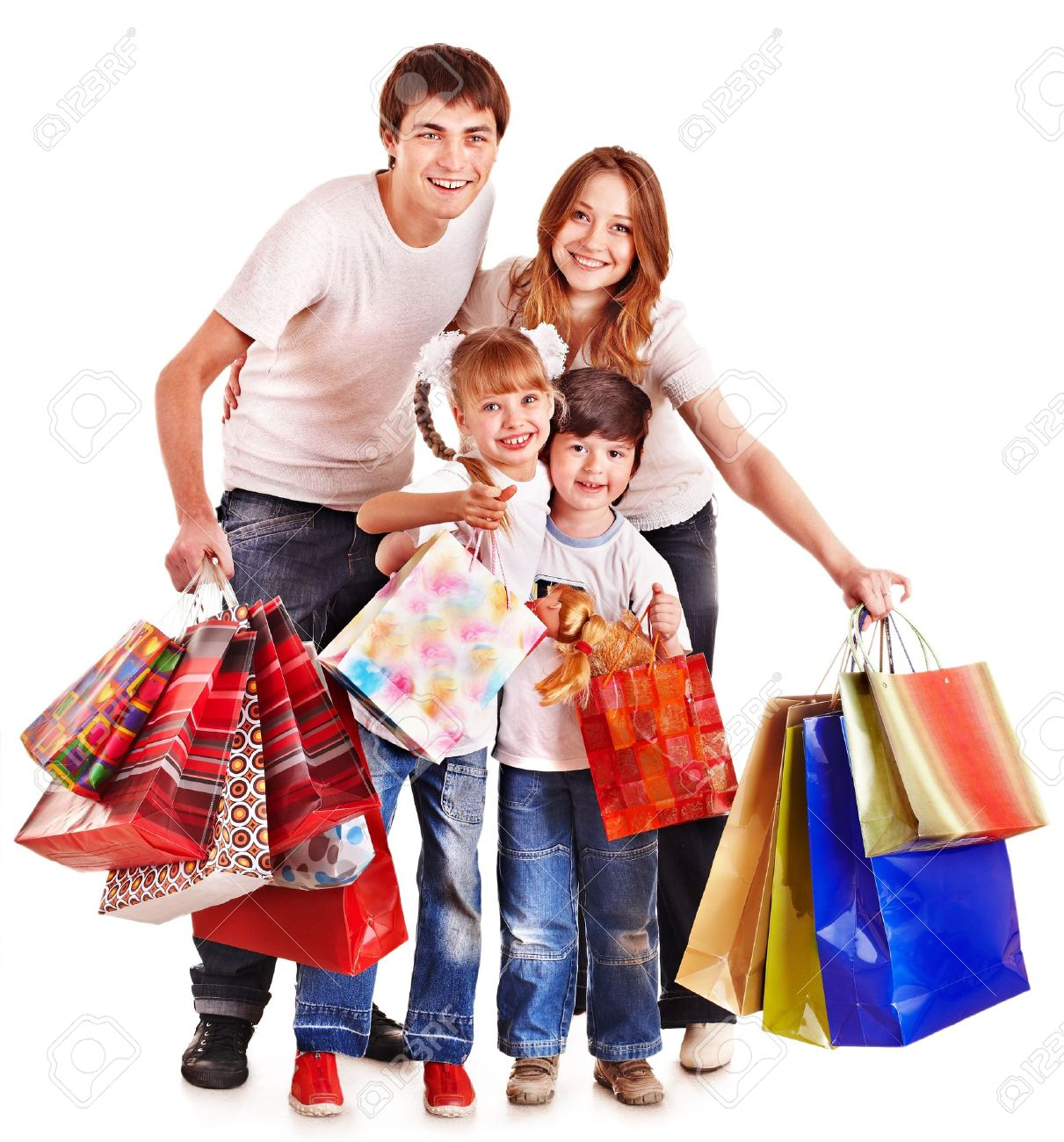 Family With Children Holding Shopping Bag. Isolated. Stock Photo ...