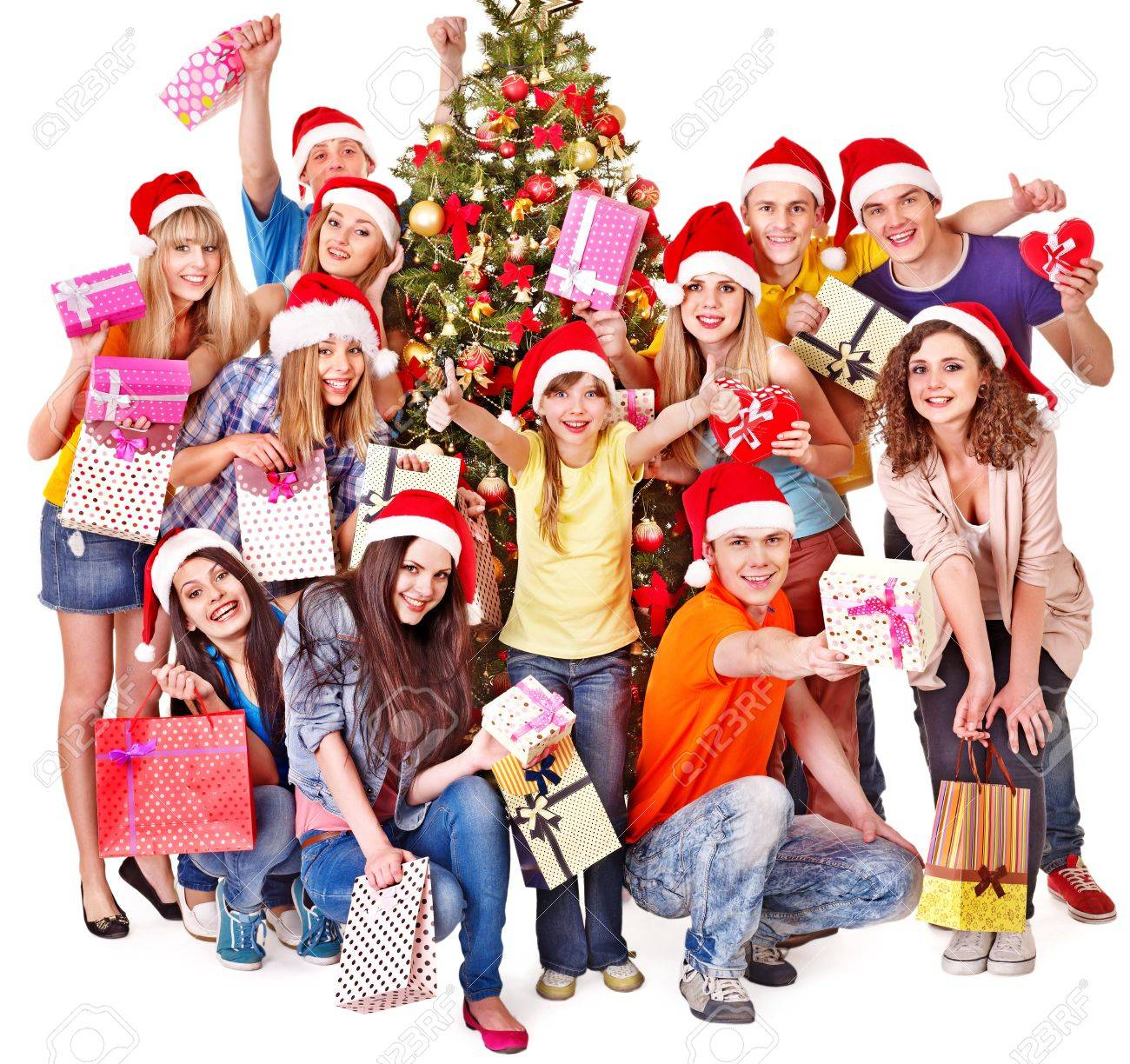Group people and  Santa holding gift box near  Christmas tree. Stock Photo - 16610339