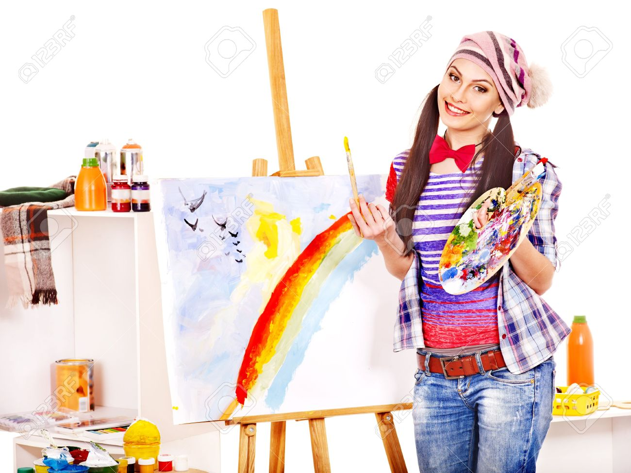 17532327-Artist-woman-at-work-Isolated--