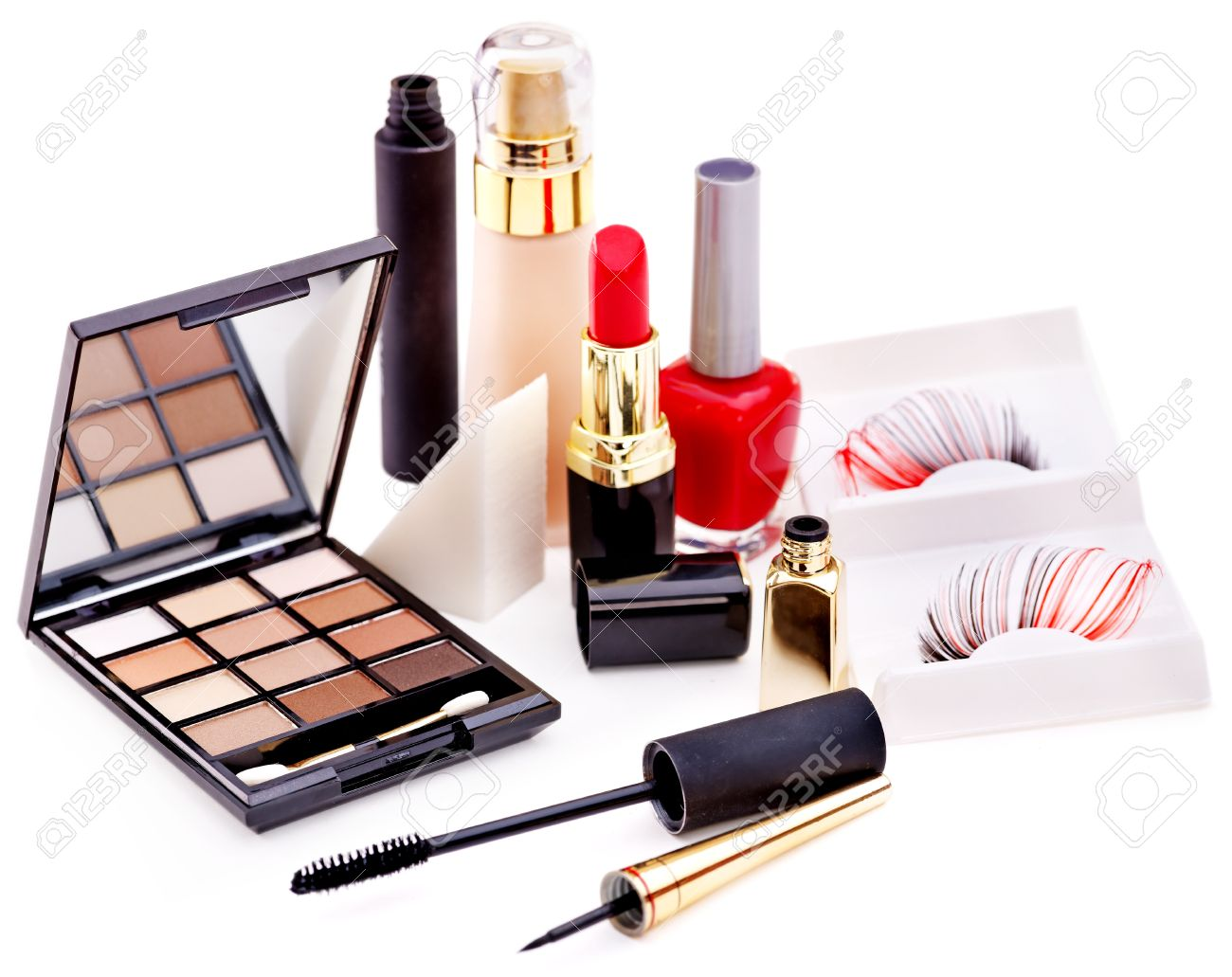 Group decorative cosmetics for makeup. Still life. Stock Photo - 17499169