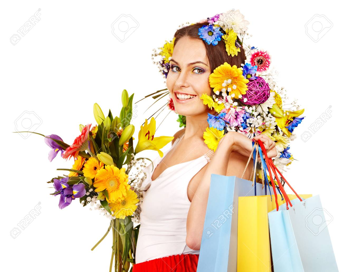 Woman with shopping bag holding flower. Isolated. Stock Photo - 17753815