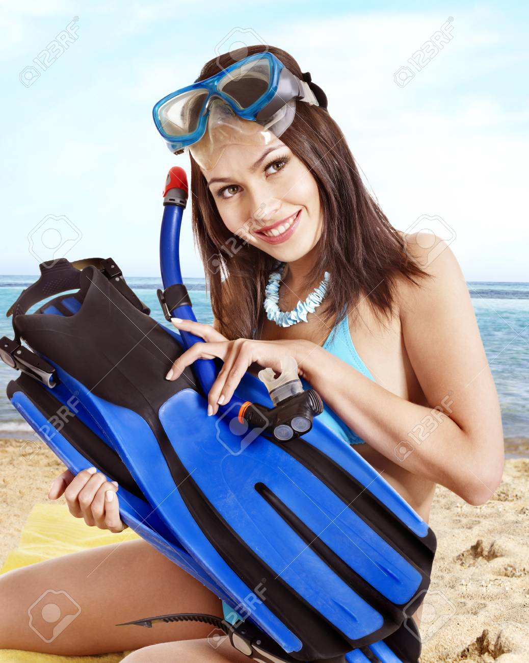 Girl wearing diving gear.  Isolated. Stock Photo - 17753869