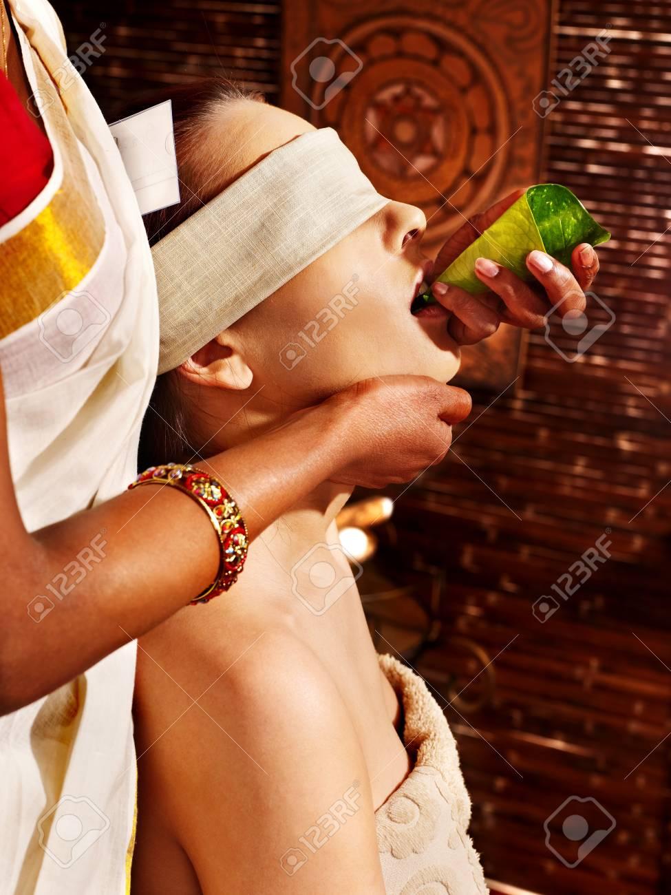 Woman having nose ayurveda spa treatment. Stock Photo - 18664789