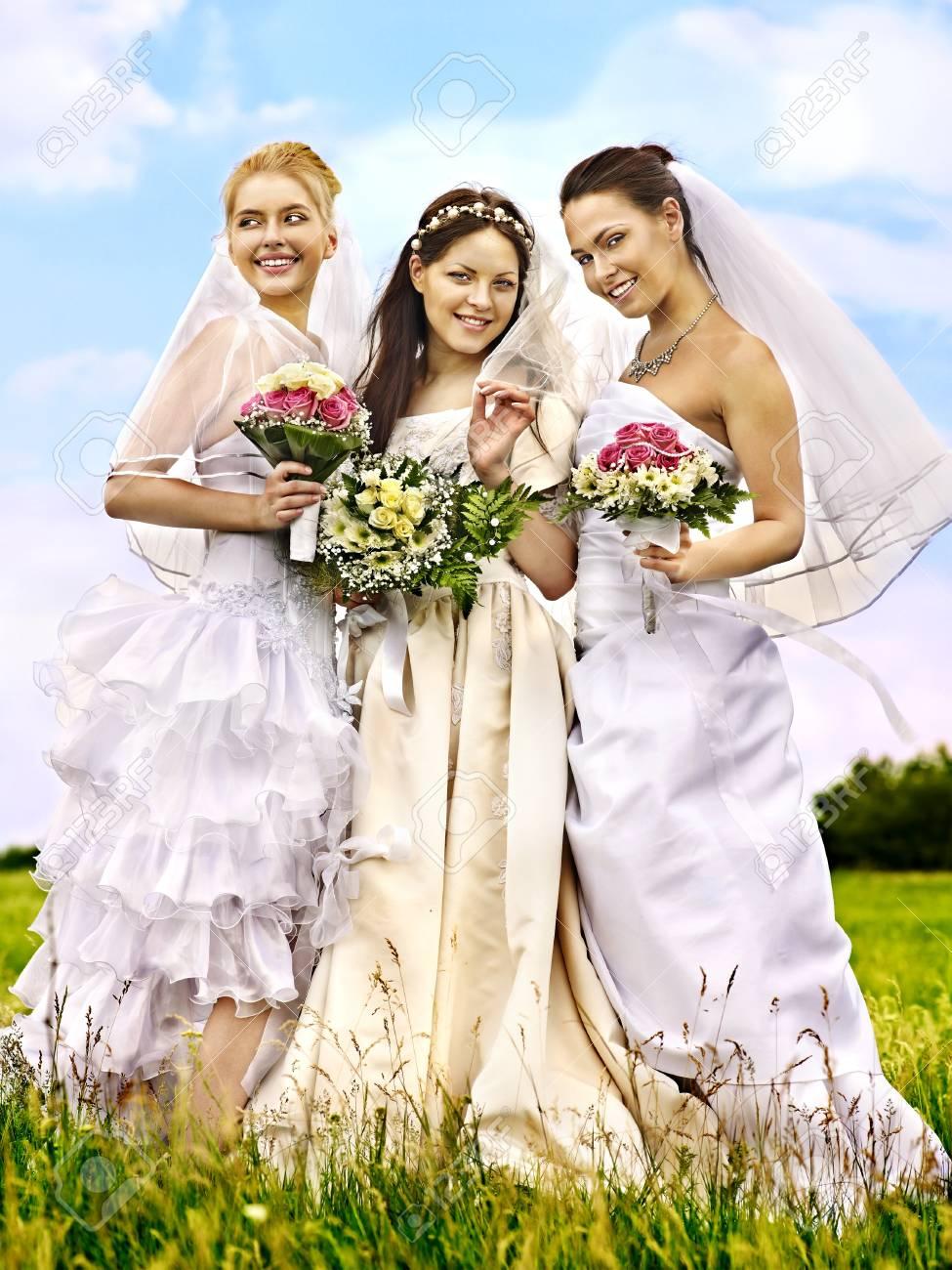 Happy group bride  wedding summer outdoor. Stock Photo - 20654251
