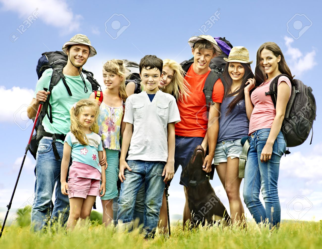 Group people with children  on travel. Stock Photo - 21173739