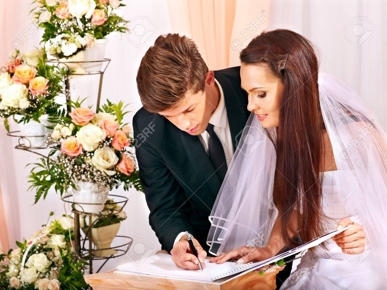 groom and bride register marriage wedding stock photo picture and