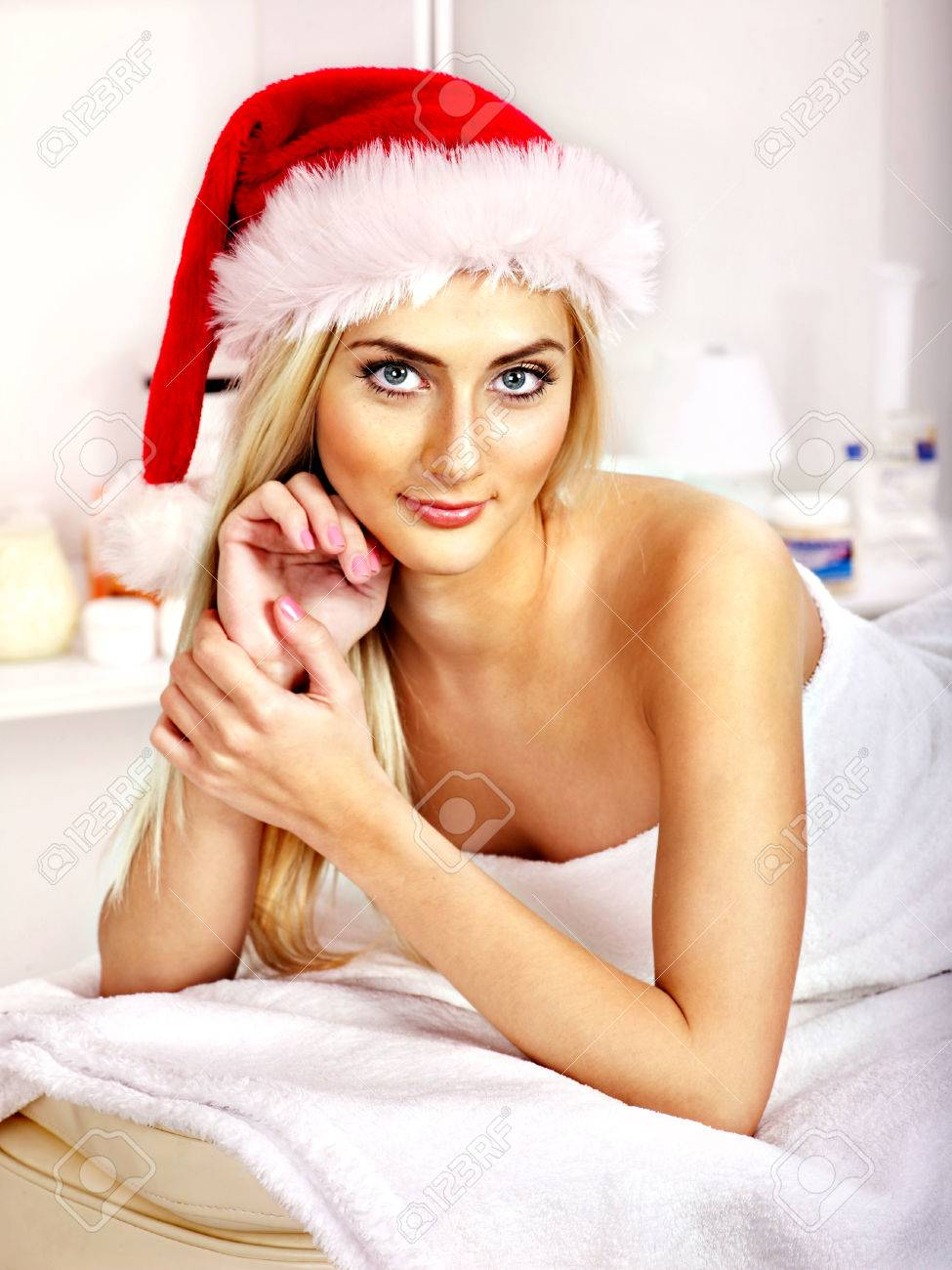 Woman Getting Massage In Christmas Spa. Stock Photo, Picture And ...