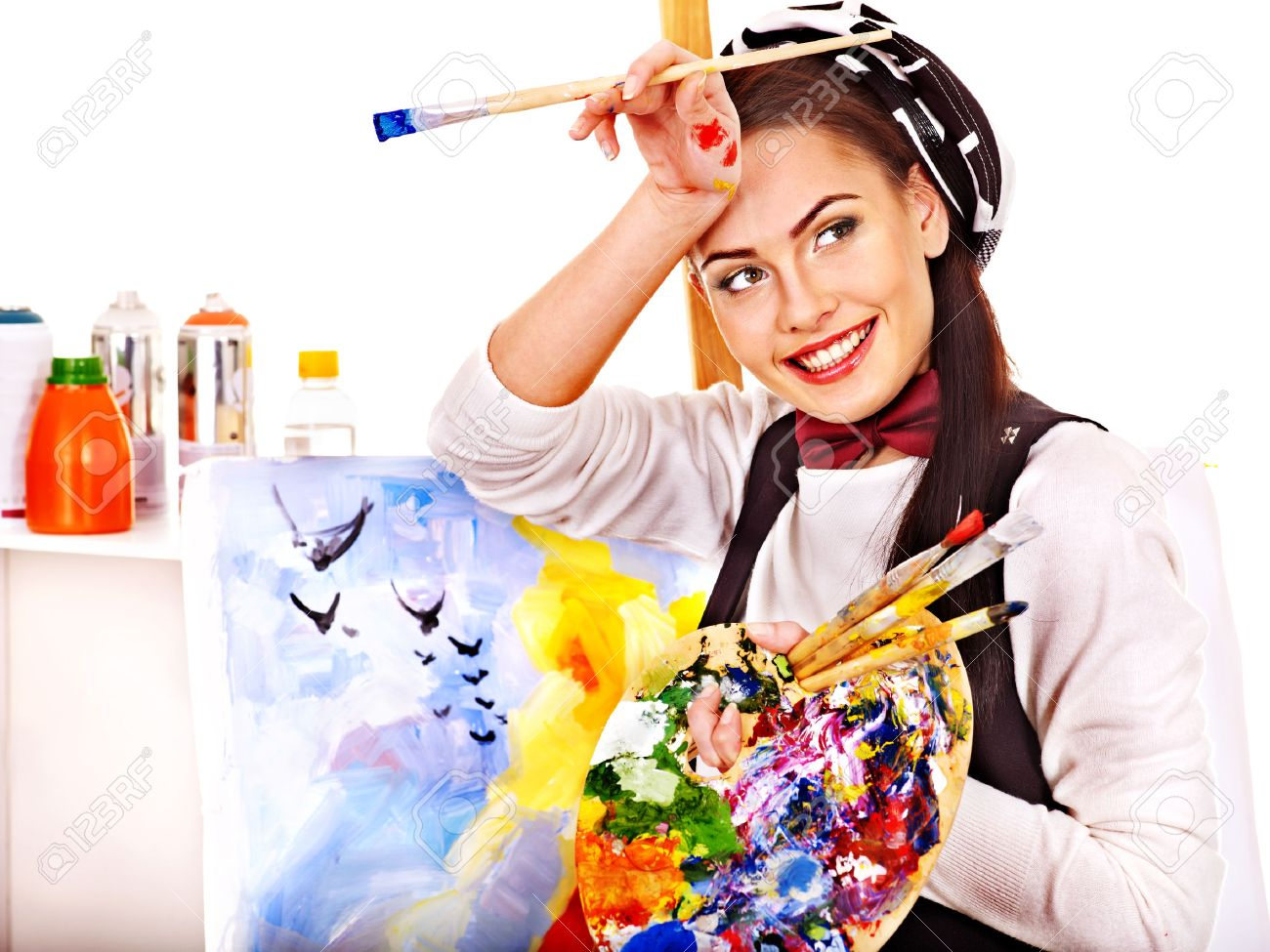 Artist woman at work. Isolated. - 22657381