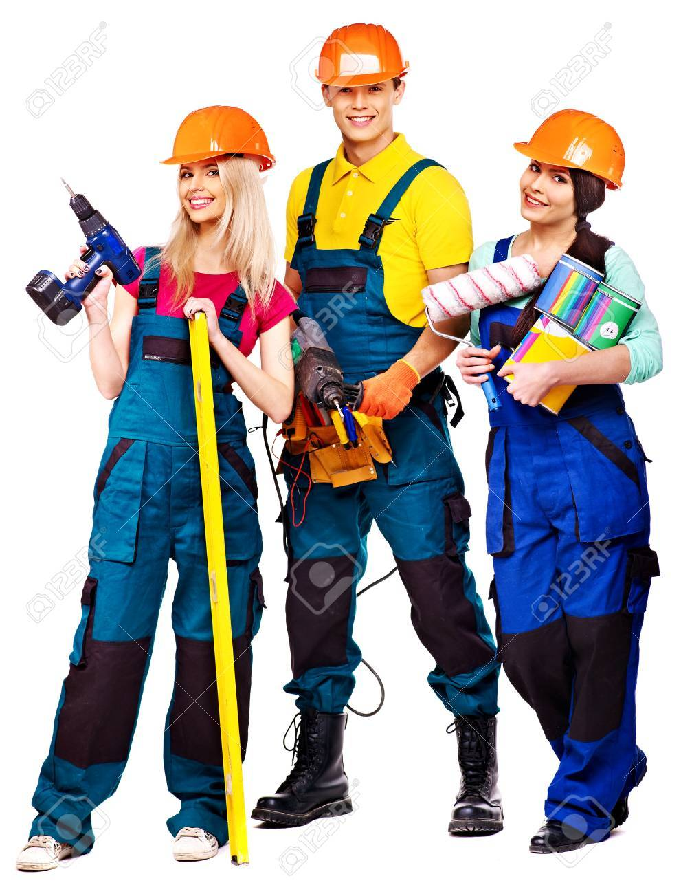 Group people builder with construction tools. Isolated. - 23856420
