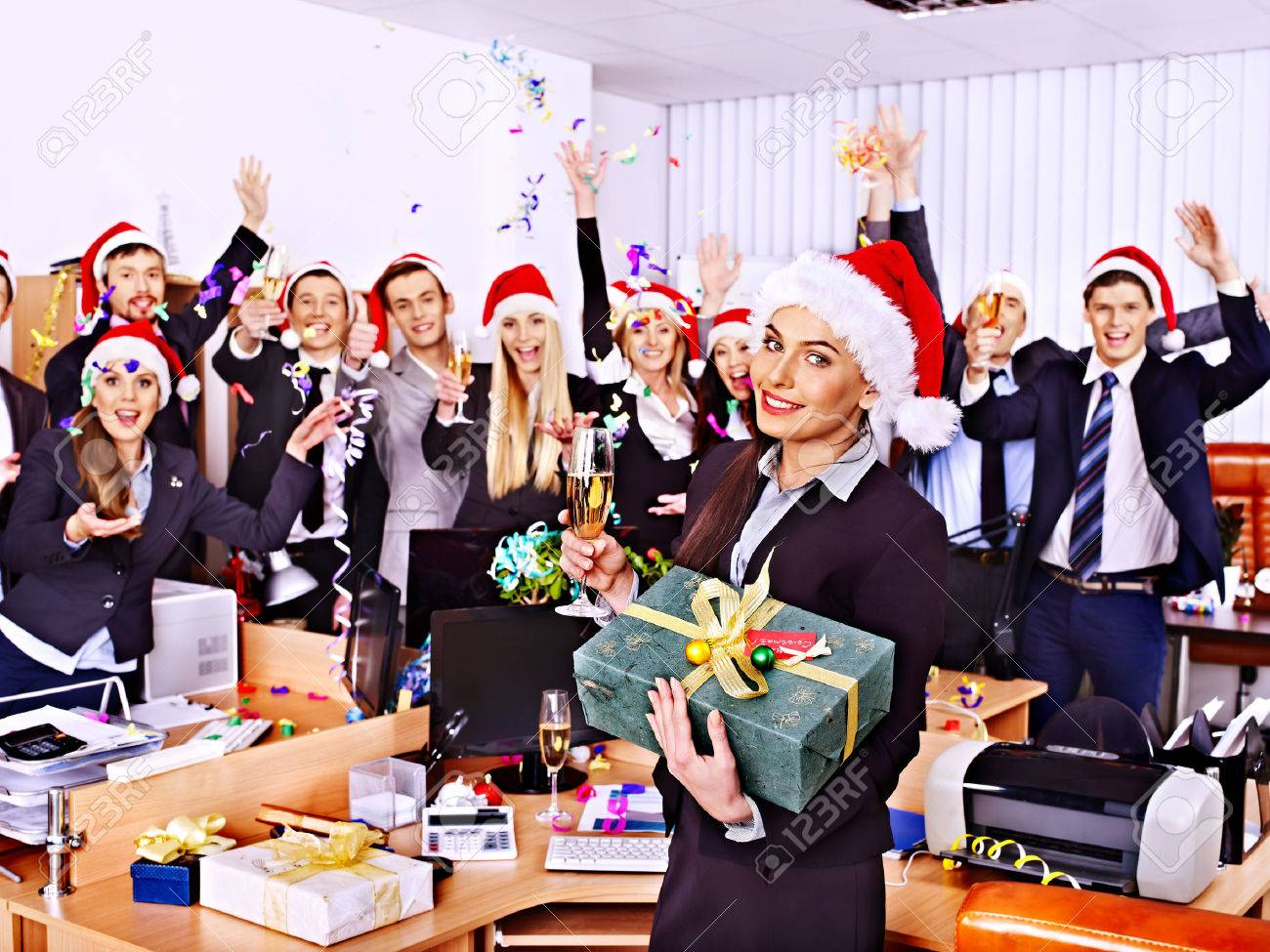 office party christmas images stock pictures royalty office party christmas happy business group people in santa hat at xmas party