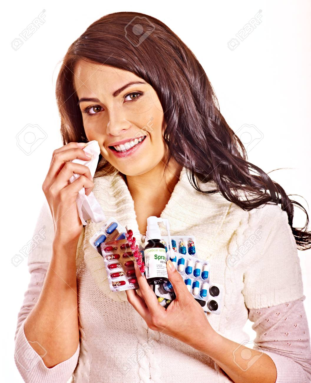 Young woman with handkerchief having  tablets and pills.  Isolated. Stock Photo - 25070265