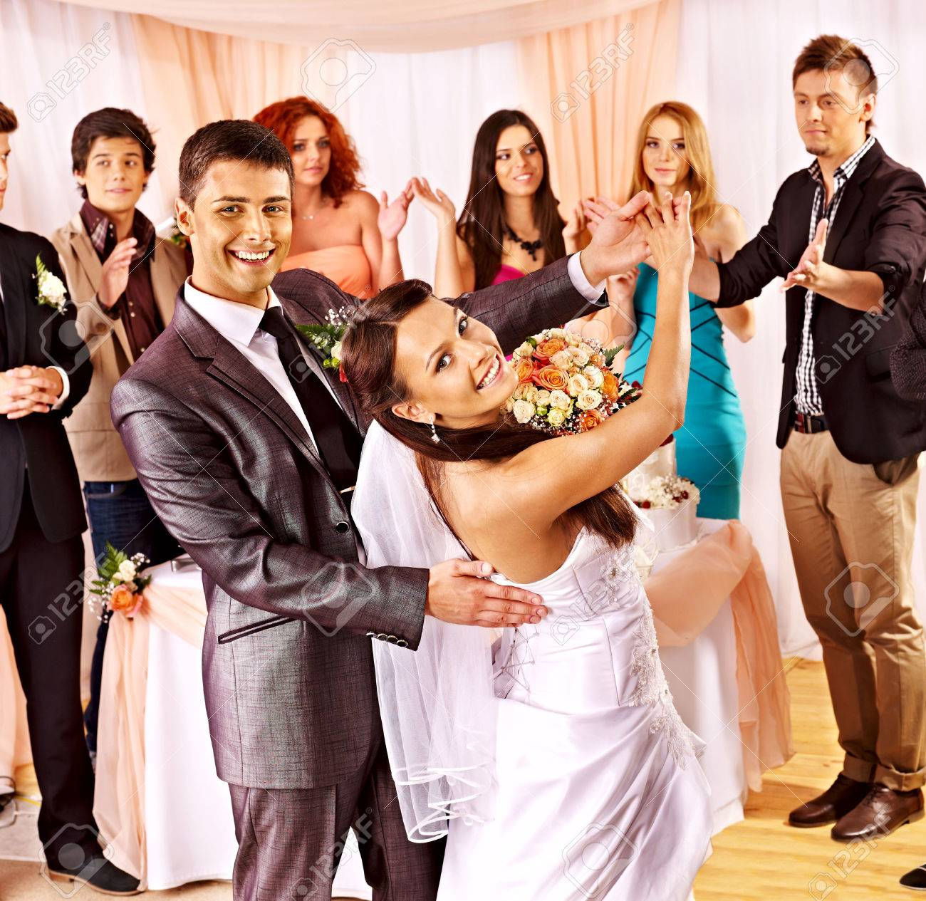 Happy group people at wedding dance. - 25488238