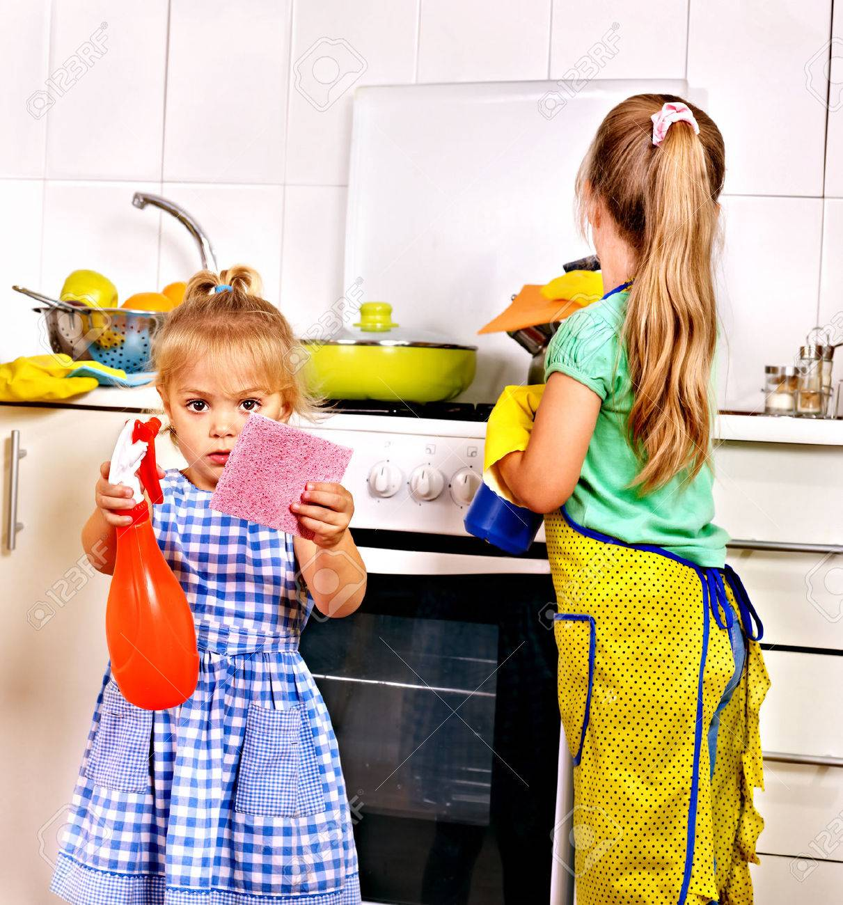 White rubber apron - Rubber Apron Children Cleaning Kitchen Housekeeping
