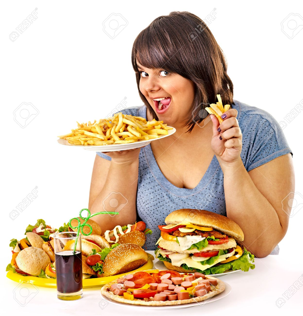 Overweight woman eating fast food. - 27304821