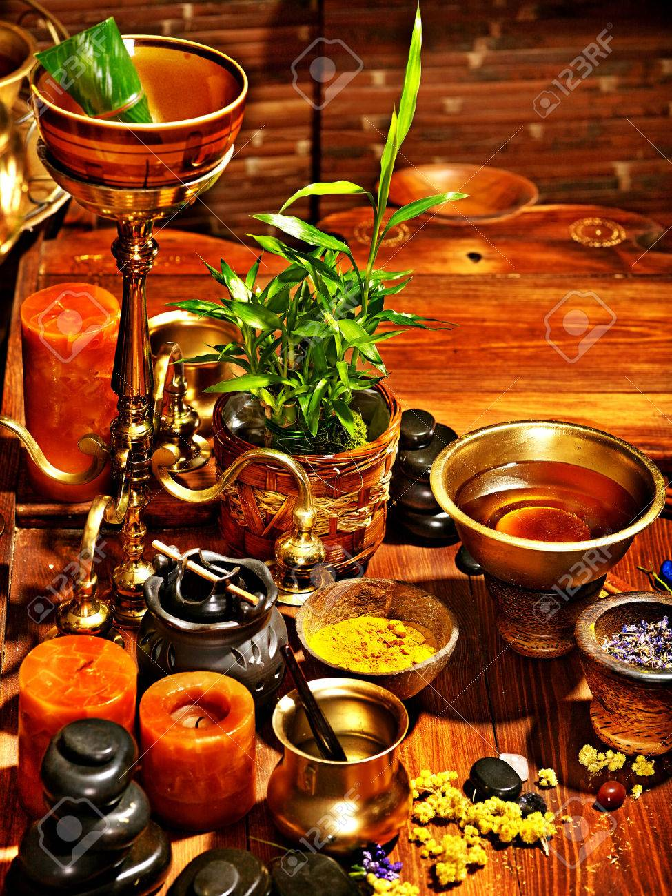 Luxury ayurvedic spa massage still life. - 28393925