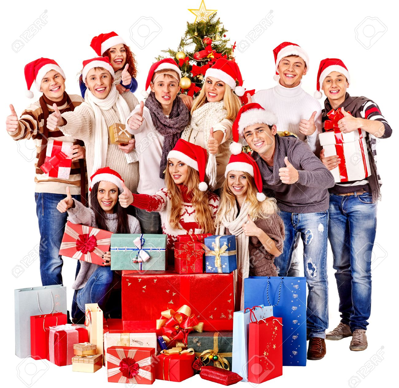 Christmas Hat Party Part - 19: Happy Group People In Santa Hat At Xmas Business Party. Stock Photo -  34393117