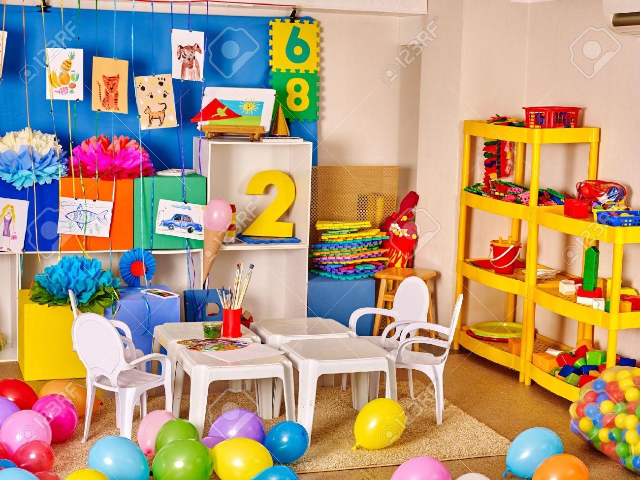 Interior of kids game room with toys in kindergarten. - 51119781