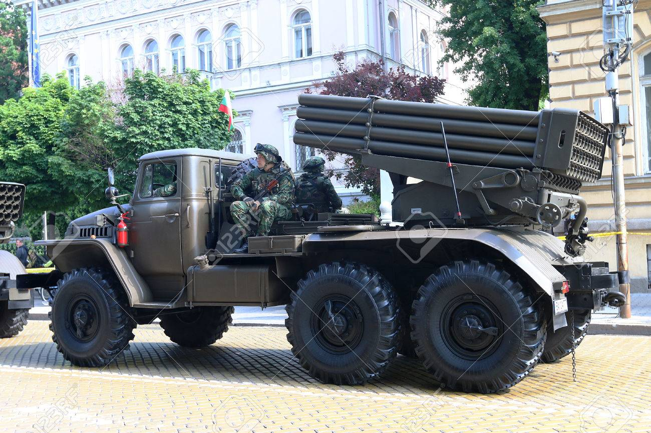 Sofia, Bulgaria - May 06: Day of Valor  Multiple Rocket Launcher