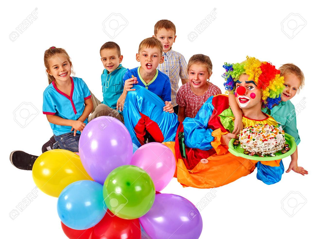 Clown Keeps Bunch Of Balloons And Birthday Cake With Group Children Celebration Isolated