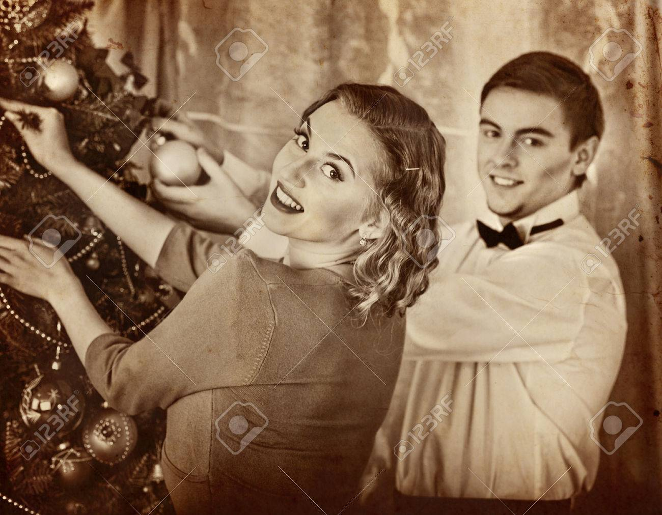 Couple On Party Decoration Christmas Tree Black And White Retroold