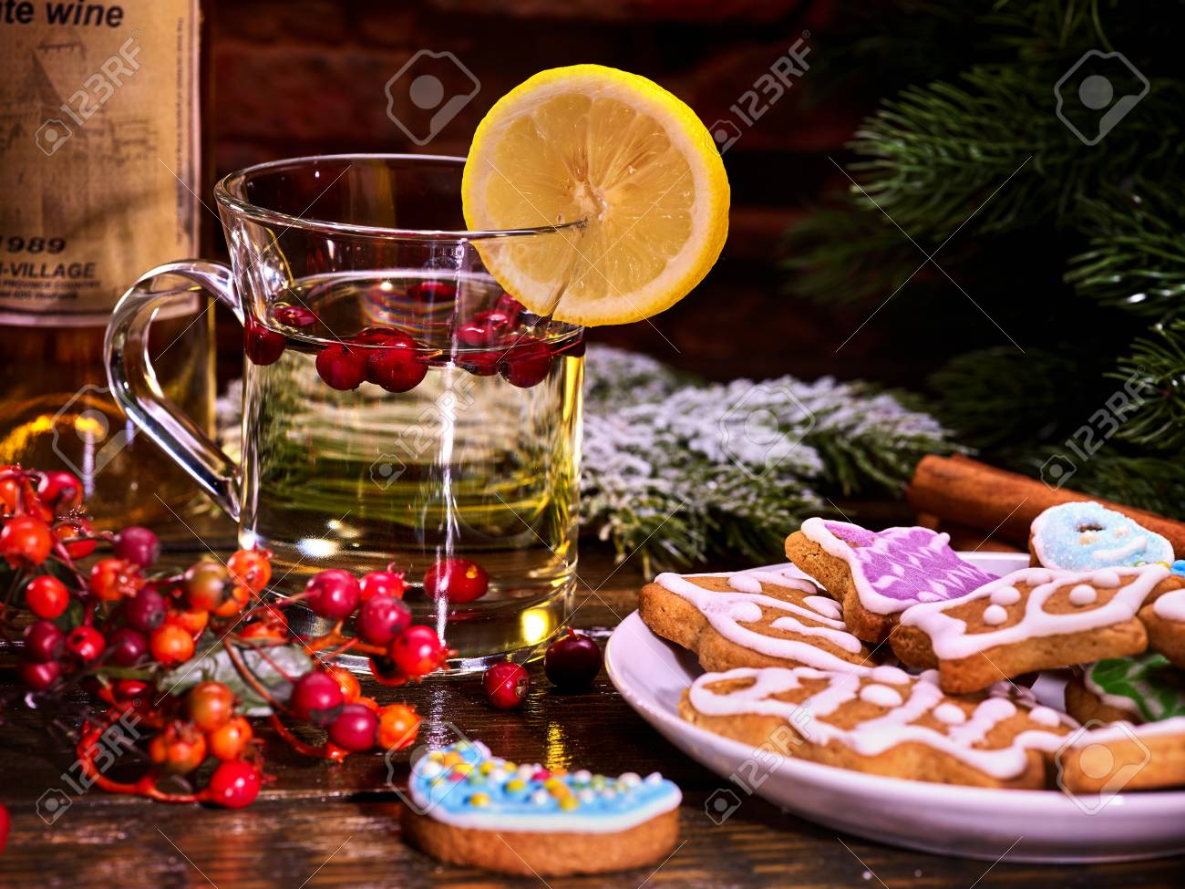 Christmas Still Life With Bottle Wine Christmas Cookies And