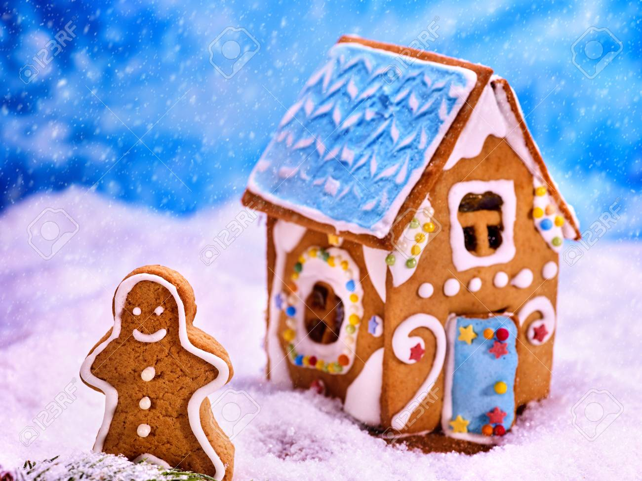 Christmas Gingerbread House Cartoon.Christmas Gingerbread House Cookie In Sugar Snow Next To Gingerbread